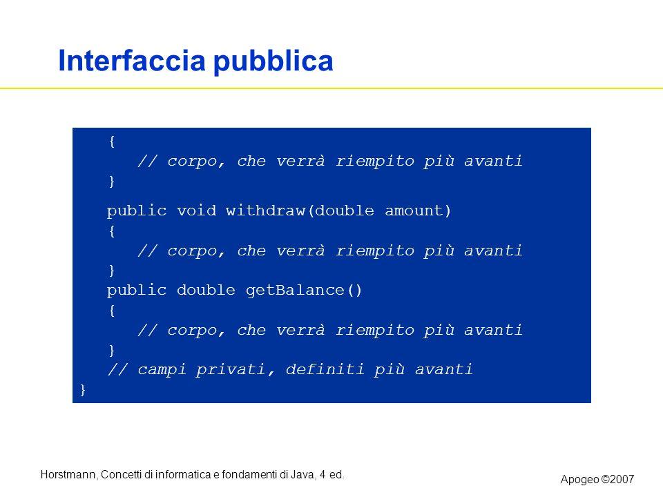 Horstmann, Concetti di informatica e fondamenti di Java, 4 ed. Apogeo ©2007 B Interfaccia pubblica { // corpo, che verrà riempito più avanti } public