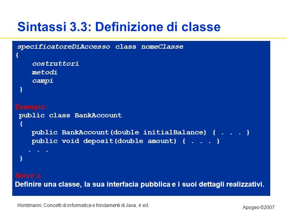 Horstmann, Concetti di informatica e fondamenti di Java, 4 ed. Apogeo ©2007 Sintassi 3.3: Definizione di classe specificatoreDiAccesso class nomeClass