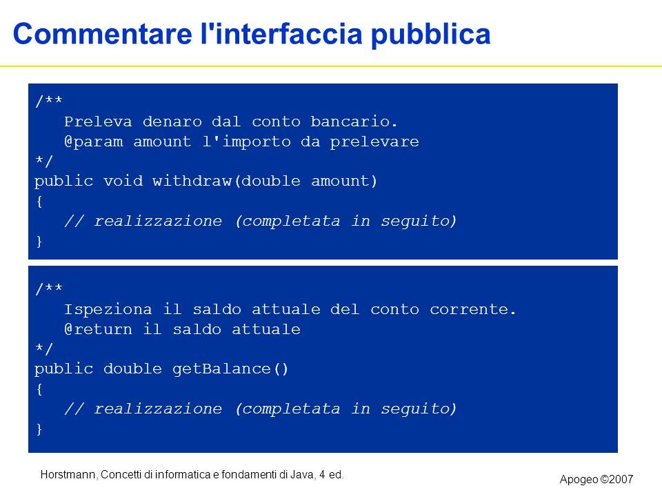 Horstmann, Concetti di informatica e fondamenti di Java, 4 ed. Apogeo ©2007 Commentare l'interfaccia pubblica /** Preleva denaro dal conto bancario. @
