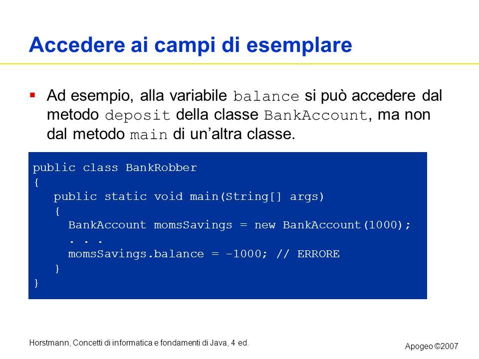 Horstmann, Concetti di informatica e fondamenti di Java, 4 ed. Apogeo ©2007 Accedere ai campi di esemplare Ad esempio, alla variabile balance si può a