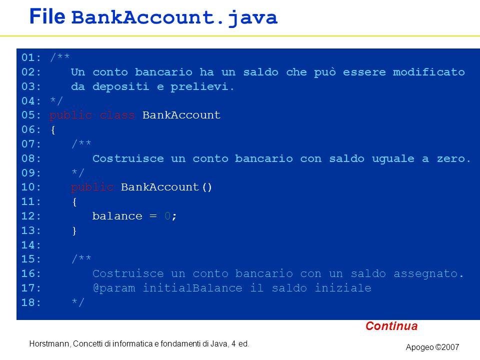 Horstmann, Concetti di informatica e fondamenti di Java, 4 ed. Apogeo ©2007 File BankAccount.java 01: /** 02: Un conto bancario ha un saldo che può es