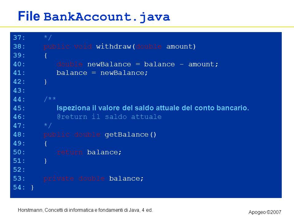 Horstmann, Concetti di informatica e fondamenti di Java, 4 ed. Apogeo ©2007 File BankAccount.java 37: */ 38: public void withdraw(double amount) 39: {