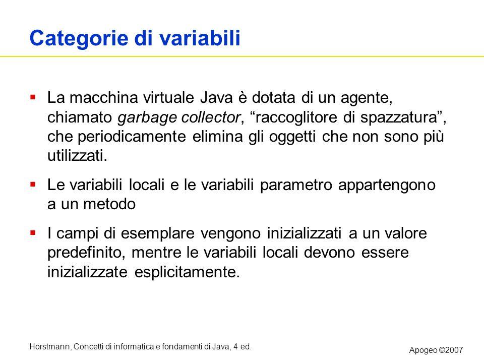 Horstmann, Concetti di informatica e fondamenti di Java, 4 ed. Apogeo ©2007 Categorie di variabili La macchina virtuale Java è dotata di un agente, ch