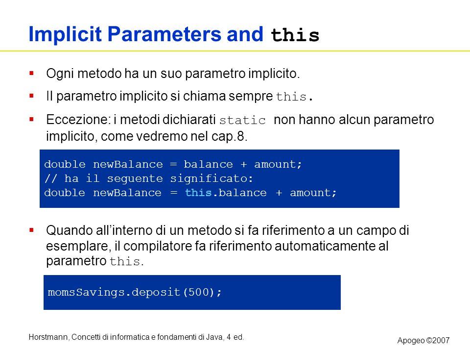 Horstmann, Concetti di informatica e fondamenti di Java, 4 ed. Apogeo ©2007 Implicit Parameters and this Ogni metodo ha un suo parametro implicito. Il