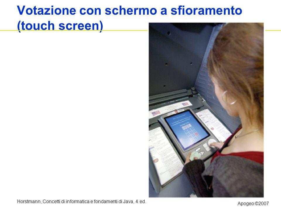 Horstmann, Concetti di informatica e fondamenti di Java, 4 ed. Apogeo ©2007 Votazione con schermo a sfioramento (touch screen) Figure 10: