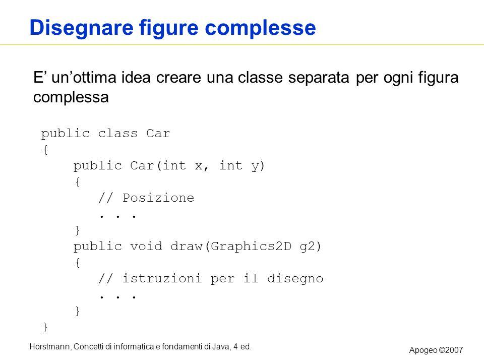 Horstmann, Concetti di informatica e fondamenti di Java, 4 ed. Apogeo ©2007 Disegnare figure complesse E unottima idea creare una classe separata per