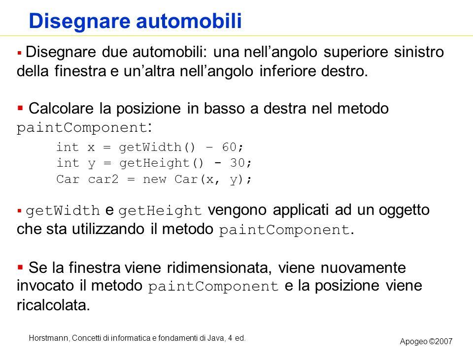 Horstmann, Concetti di informatica e fondamenti di Java, 4 ed. Apogeo ©2007 Disegnare automobili Disegnare due automobili: una nellangolo superiore si