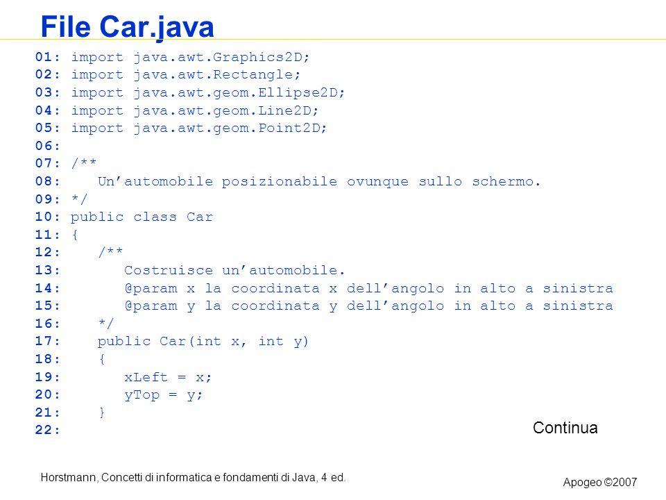 Horstmann, Concetti di informatica e fondamenti di Java, 4 ed. Apogeo ©2007 File Car.java 01: import java.awt.Graphics2D; 02: import java.awt.Rectangl