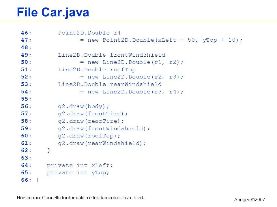 Horstmann, Concetti di informatica e fondamenti di Java, 4 ed. Apogeo ©2007 File Car.java 46: Point2D.Double r4 47: = new Point2D.Double(xLeft + 50, y