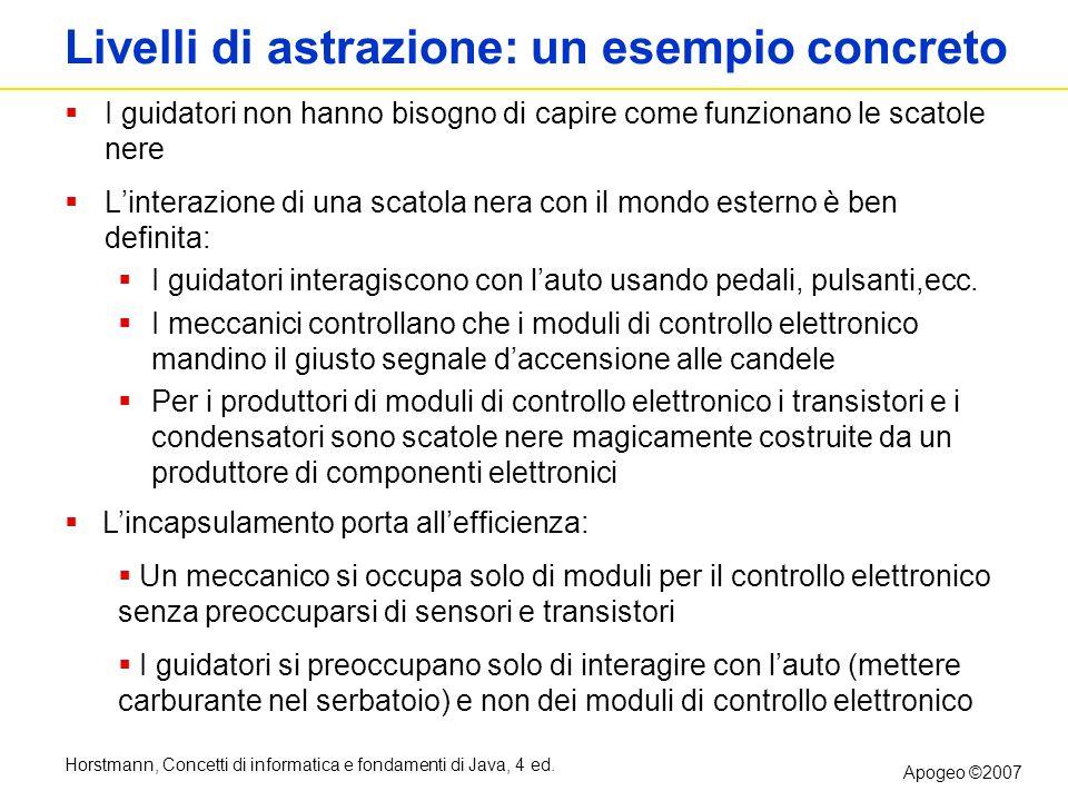 Horstmann, Concetti di informatica e fondamenti di Java, 4 ed. Apogeo ©2007 Livelli di astrazione: un esempio concreto I guidatori non hanno bisogno d