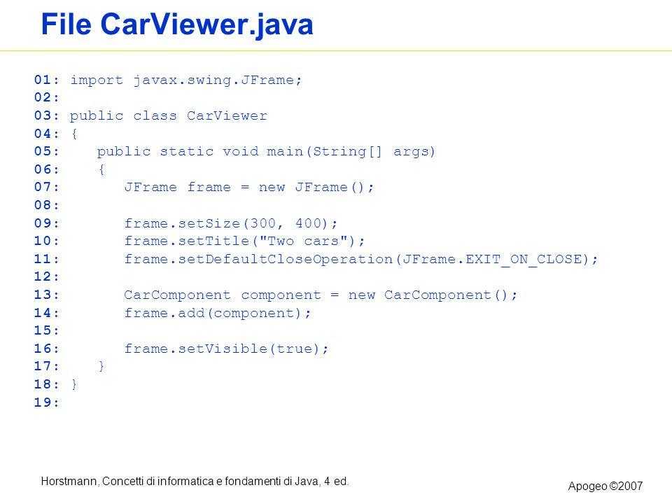 Horstmann, Concetti di informatica e fondamenti di Java, 4 ed. Apogeo ©2007 File CarViewer.java 01: import javax.swing.JFrame; 02: 03: public class Ca