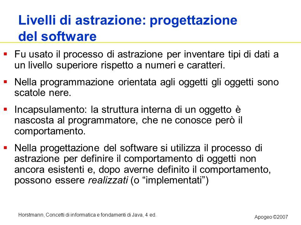 Horstmann, Concetti di informatica e fondamenti di Java, 4 ed. Apogeo ©2007 Livelli di astrazione: progettazione del software Fu usato il processo di