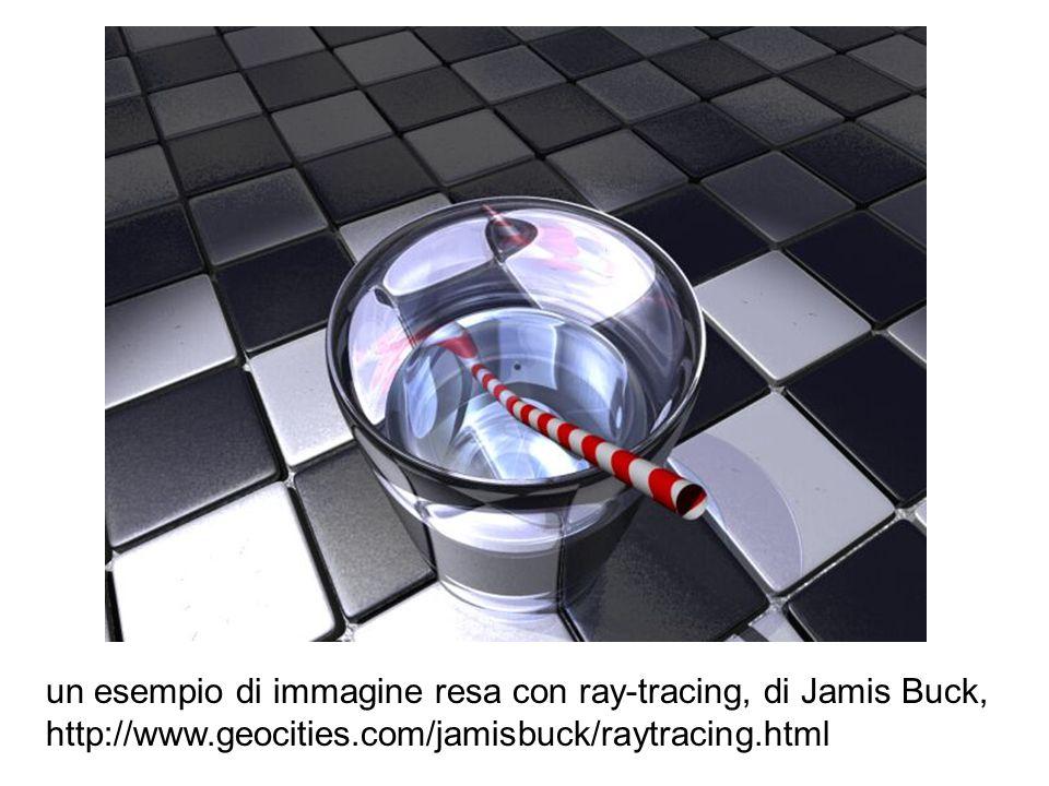 un esempio di immagine resa con ray-tracing, di Jamis Buck, http://www.geocities.com/jamisbuck/raytracing.html