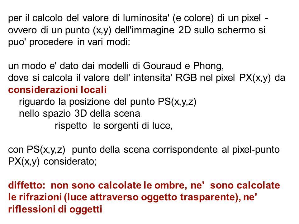 per il calcolo del valore di luminosita' (e colore) di un pixel - ovvero di un punto (x,y) dell'immagine 2D sullo schermo si puo' procedere in vari mo