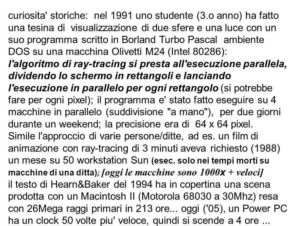 curiosita' storiche: nel 1991 uno studente (3.o anno) ha fatto una tesina di visualizzazione di due sfere e una luce con un suo programma scritto in B