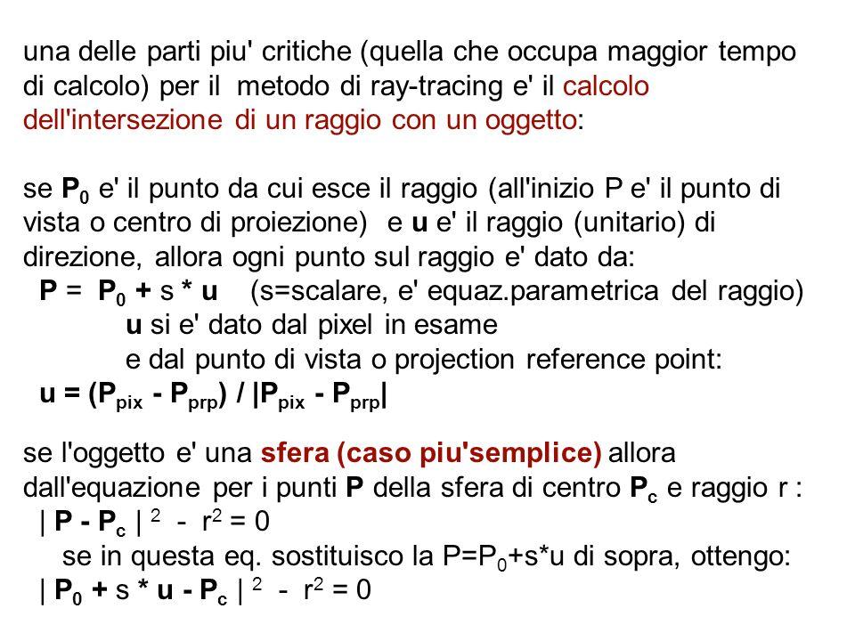 una delle parti piu' critiche (quella che occupa maggior tempo di calcolo) per il metodo di ray-tracing e' il calcolo dell'intersezione di un raggio c