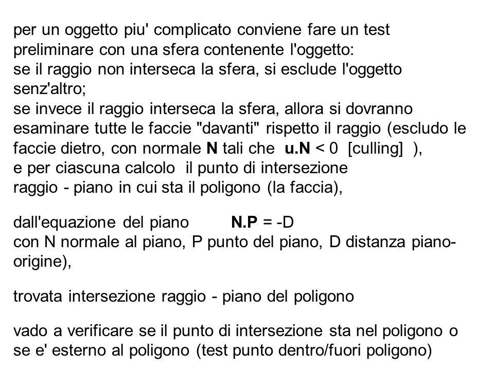 per un oggetto piu' complicato conviene fare un test preliminare con una sfera contenente l'oggetto: se il raggio non interseca la sfera, si esclude l
