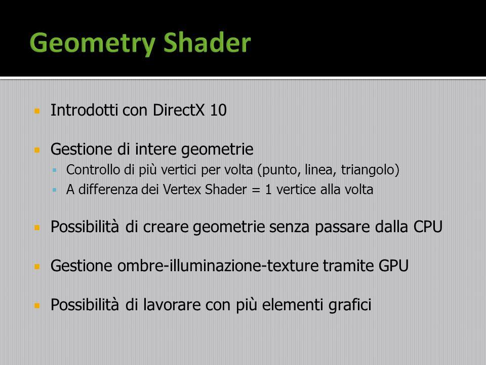 Introdotti con DirectX 10 Gestione di intere geometrie Controllo di più vertici per volta (punto, linea, triangolo) A differenza dei Vertex Shader = 1
