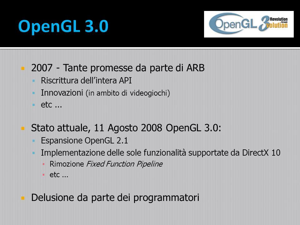 2007 - Tante promesse da parte di ARB Riscrittura dellintera API Innovazioni (in ambito di videogiochi) etc... Stato attuale, 11 Agosto 2008 OpenGL 3.