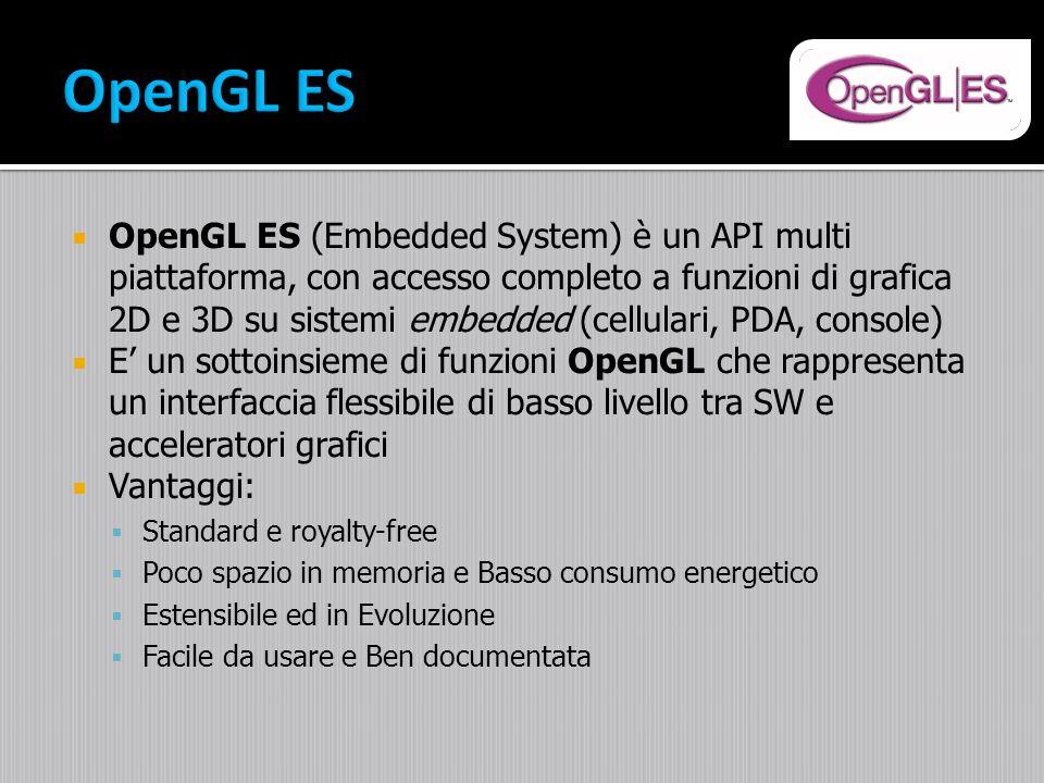 OpenGL ES (Embedded System) è un API multi piattaforma, con accesso completo a funzioni di grafica 2D e 3D su sistemi embedded (cellulari, PDA, consol