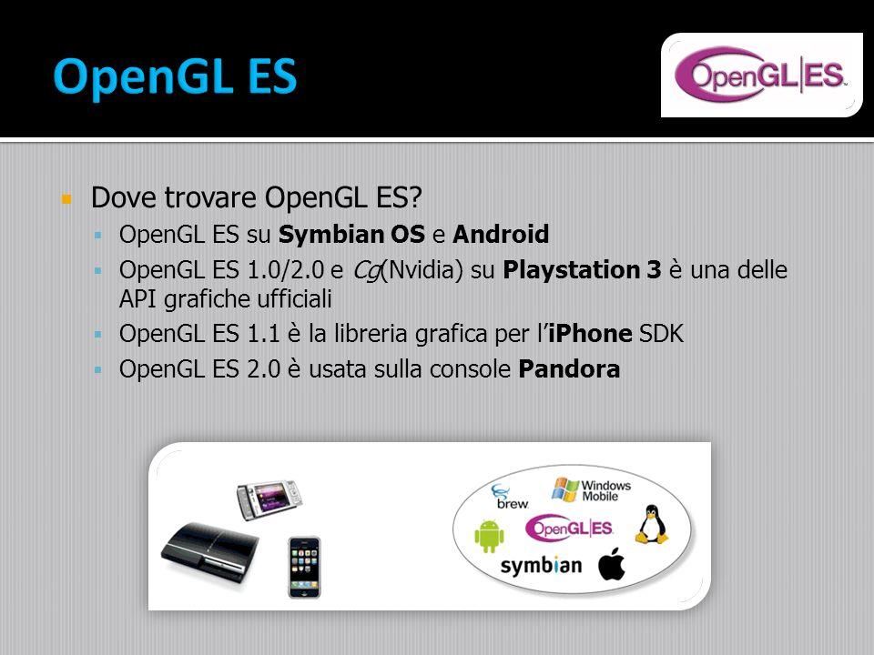 Dove trovare OpenGL ES? OpenGL ES su Symbian OS e Android OpenGL ES 1.0/2.0 e Cg(Nvidia) su Playstation 3 è una delle API grafiche ufficiali OpenGL ES