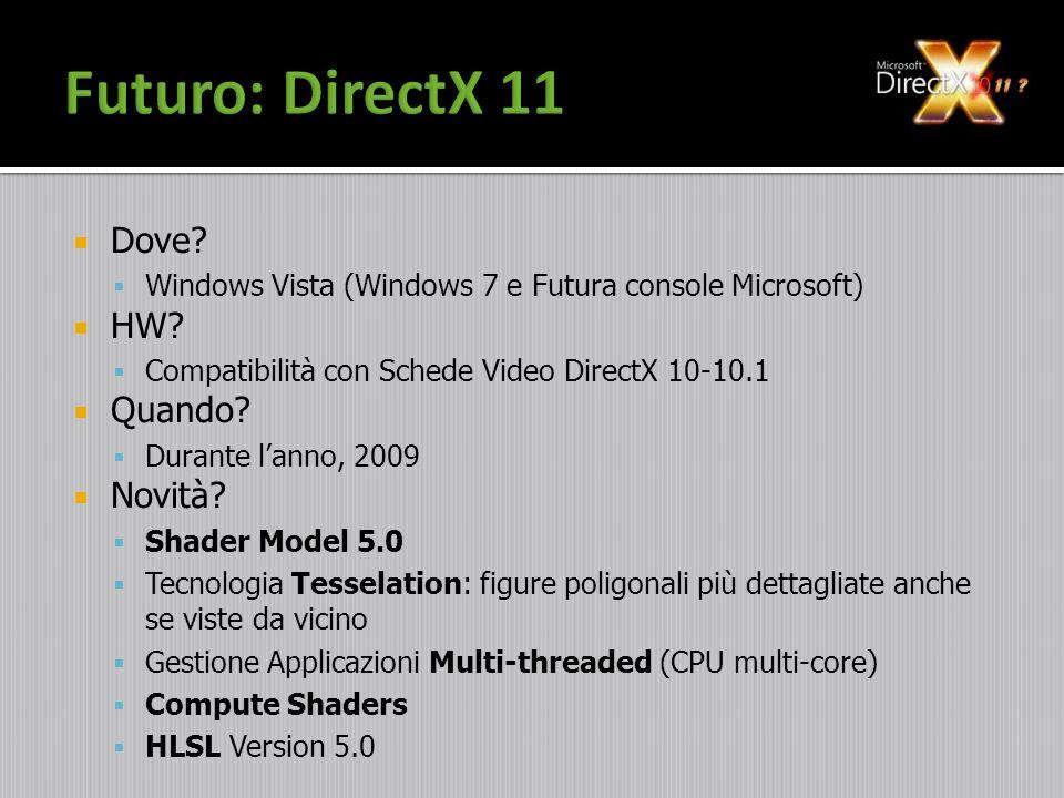 Dove? Windows Vista (Windows 7 e Futura console Microsoft) HW? Compatibilità con Schede Video DirectX 10-10.1 Quando? Durante lanno, 2009 Novità? Shad
