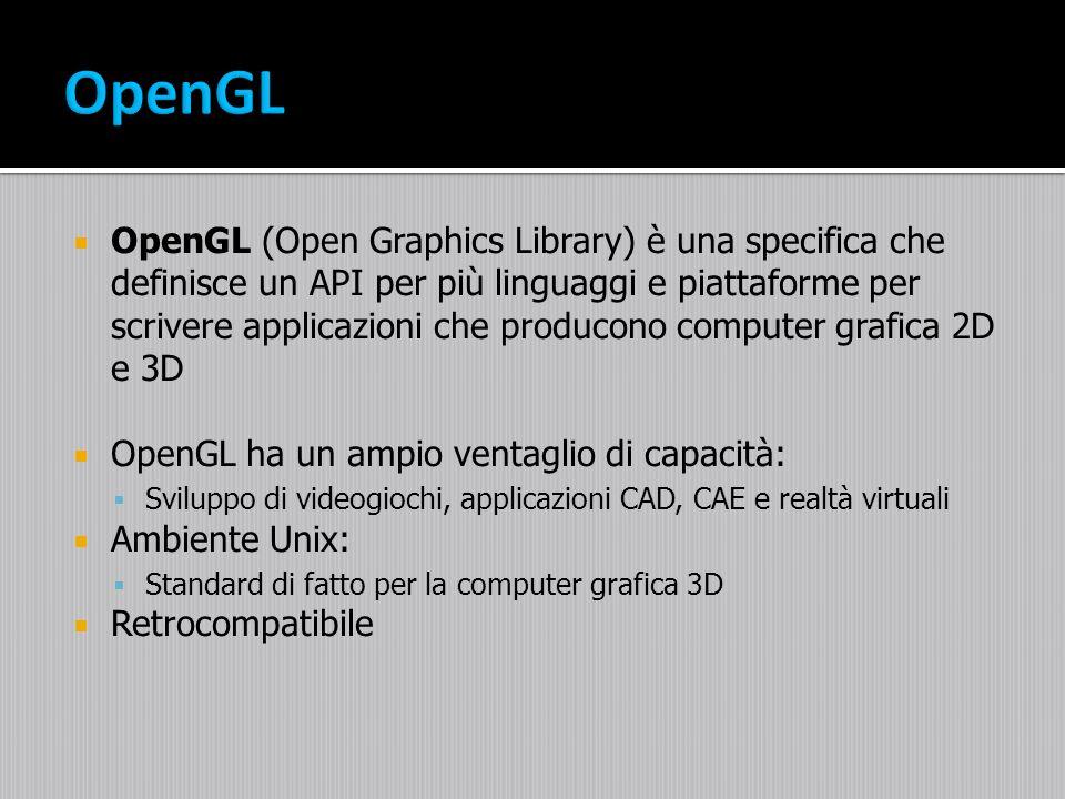 OpenGL (Open Graphics Library) è una specifica che definisce un API per più linguaggi e piattaforme per scrivere applicazioni che producono computer g