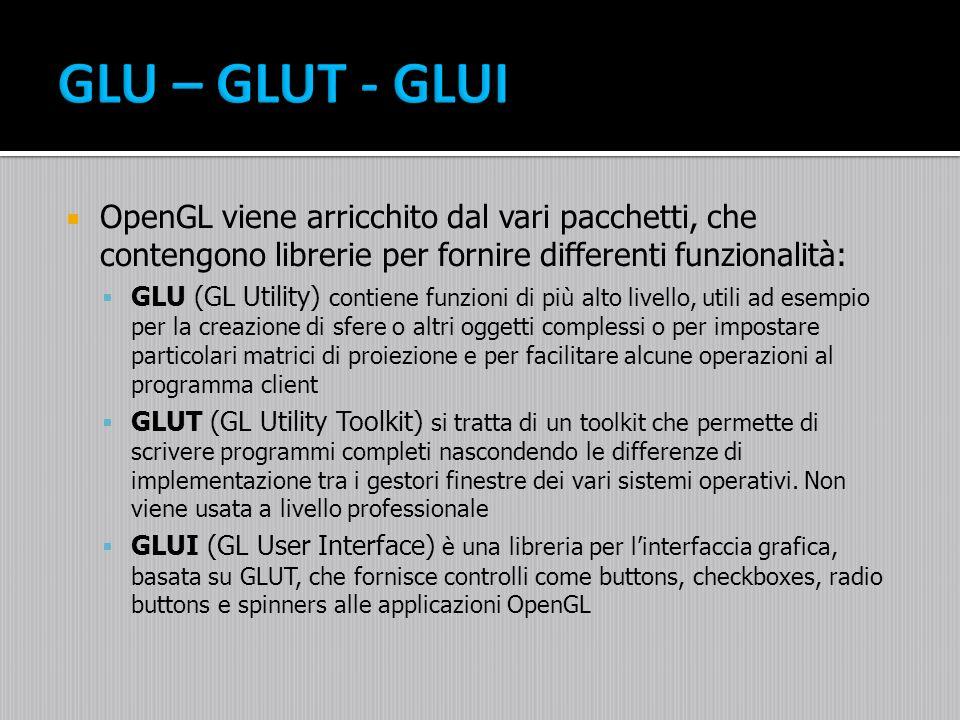 OpenGL viene arricchito dal vari pacchetti, che contengono librerie per fornire differenti funzionalità: GLU (GL Utility) contiene funzioni di più alt