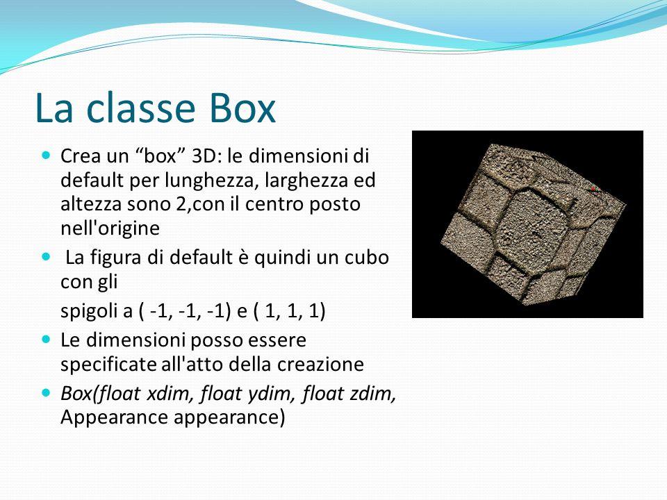La classe Box Crea un box 3D: le dimensioni di default per lunghezza, larghezza ed altezza sono 2,con il centro posto nell'origine La figura di defaul