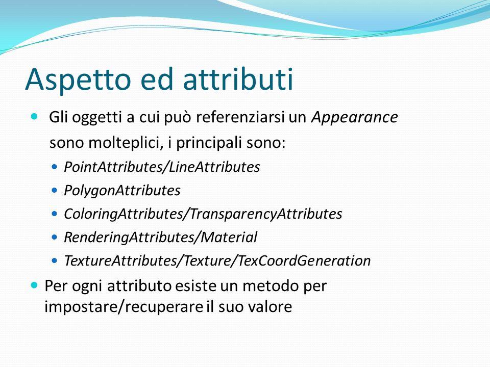 Aspetto ed attributi Gli oggetti a cui può referenziarsi un Appearance sono molteplici, i principali sono: PointAttributes/LineAttributes PolygonAttri