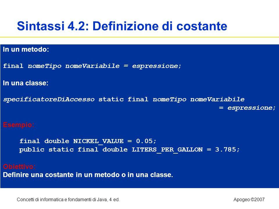 Concetti di informatica e fondamenti di Java, 4 ed.Apogeo ©2007 Sintassi 4.2: Definizione di costante In un metodo: final nomeTipo nomeVariabile = esp