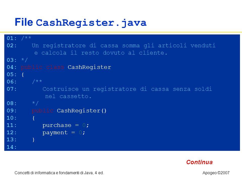 Concetti di informatica e fondamenti di Java, 4 ed.Apogeo ©2007 File CashRegister.java 01: /** 02: Un registratore di cassa somma gli articoli venduti