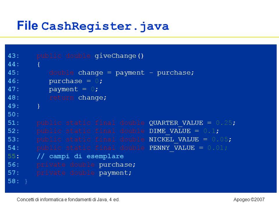 Concetti di informatica e fondamenti di Java, 4 ed.Apogeo ©2007 File CashRegister.java Continua 43: public double giveChange() 44: { 45: double change