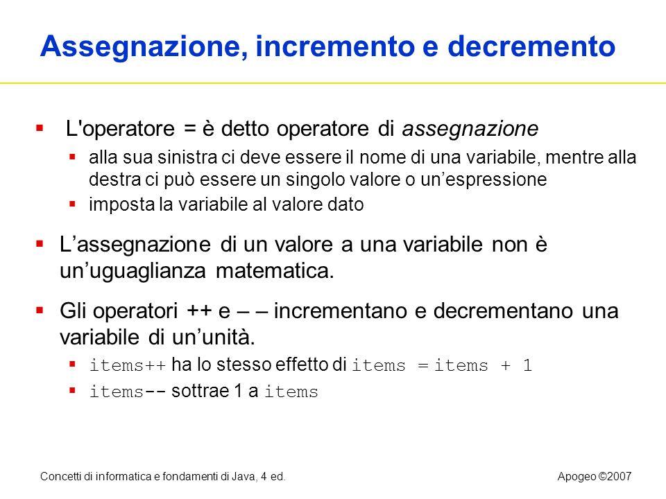 Concetti di informatica e fondamenti di Java, 4 ed.Apogeo ©2007 Assegnazione, incremento e decremento L'operatore = è detto operatore di assegnazione