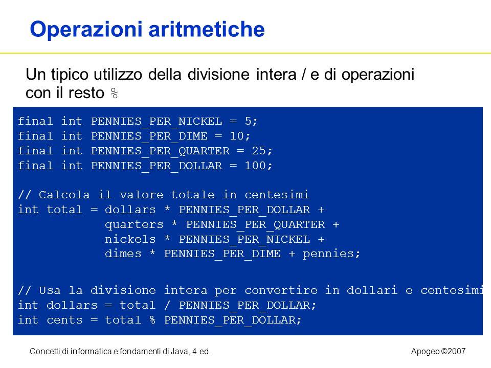 Concetti di informatica e fondamenti di Java, 4 ed.Apogeo ©2007 Operazioni aritmetiche final int PENNIES_PER_NICKEL = 5; final int PENNIES_PER_DIME =