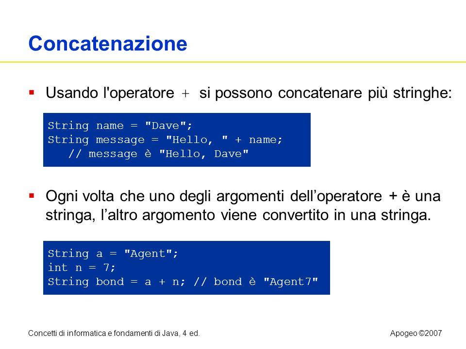 Concetti di informatica e fondamenti di Java, 4 ed.Apogeo ©2007 Concatenazione Usando l'operatore + si possono concatenare più stringhe: Ogni volta ch