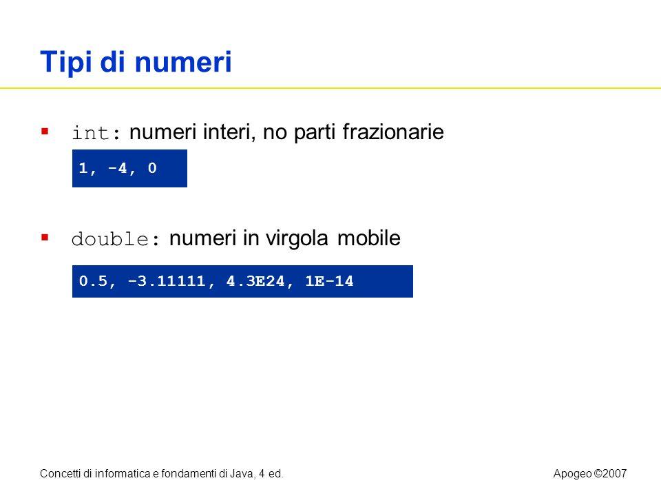 Concetti di informatica e fondamenti di Java, 4 ed.Apogeo ©2007 Tipi di numeri int: numeri interi, no parti frazionarie double: numeri in virgola mobi