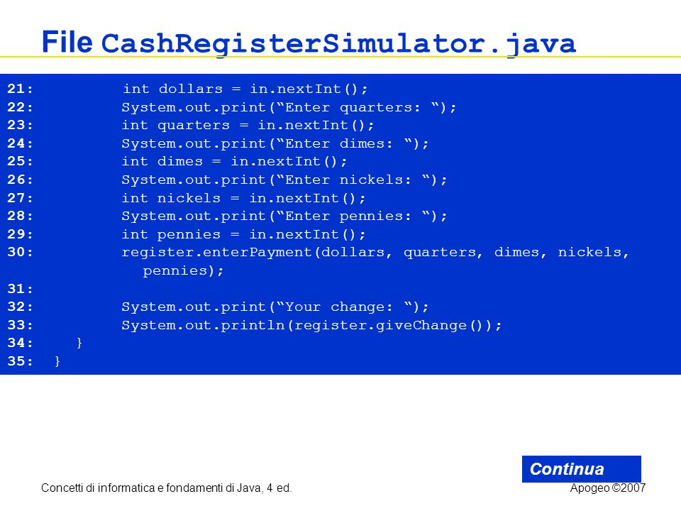 Concetti di informatica e fondamenti di Java, 4 ed.Apogeo ©2007 File CashRegisterSimulator.java Continua 21: int dollars = in.nextInt(); 22: System.ou