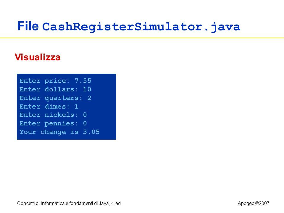 Concetti di informatica e fondamenti di Java, 4 ed.Apogeo ©2007 File CashRegisterSimulator.java Enter price: 7.55 Enter dollars: 10 Enter quarters: 2