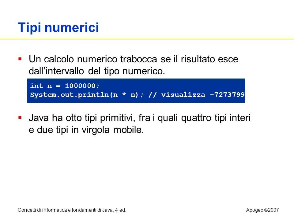 Concetti di informatica e fondamenti di Java, 4 ed.Apogeo ©2007 File CashRegister.java Continua 43: public double giveChange() 44: { 45: double change = payment - purchase; 46: purchase = 0; 47: payment = 0; 48: return change; 49: } 50: 51: public static final double QUARTER_VALUE = 0.25; 52: public static final double DIME_VALUE = 0.1; 53: public static final double NICKEL_VALUE = 0.05; 54: public static final double PENNY_VALUE = 0.01; 55: // campi di esemplare 56: private double purchase; 57: private double payment; 58: }