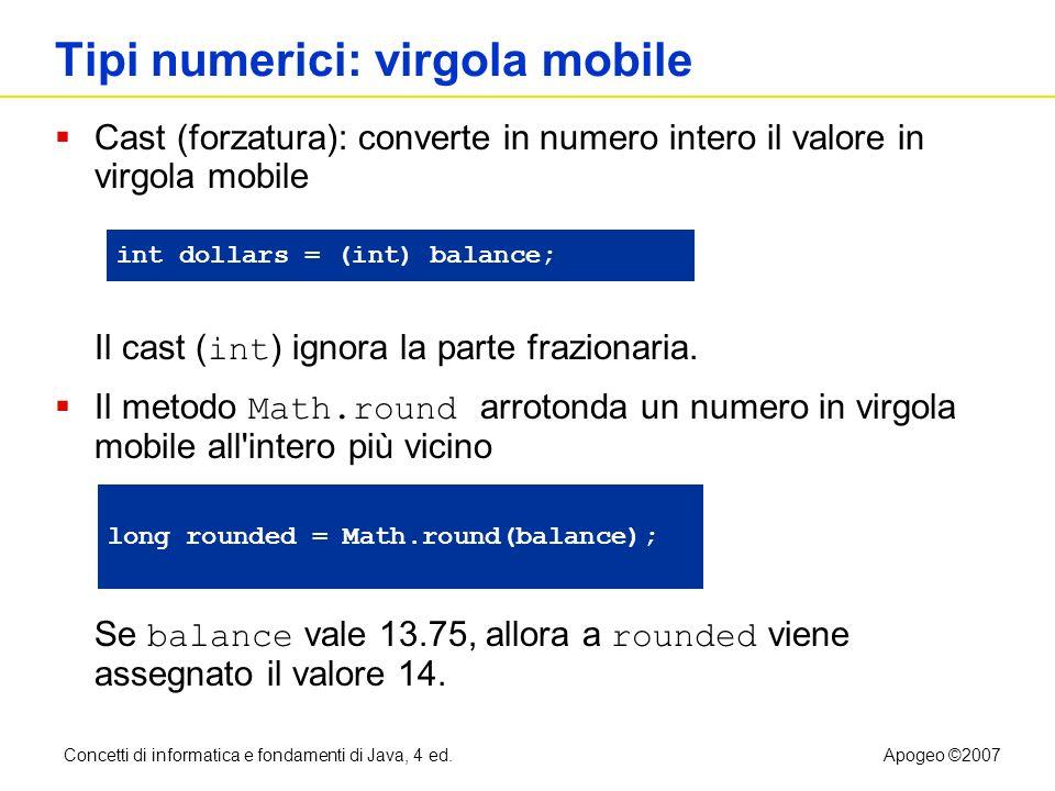 Concetti di informatica e fondamenti di Java, 4 ed.Apogeo ©2007 File CashRegisterSimulator.java Continua 21: int dollars = in.nextInt(); 22: System.out.print(Enter quarters: ); 23: int quarters = in.nextInt(); 24: System.out.print(Enter dimes: ); 25: int dimes = in.nextInt(); 26: System.out.print(Enter nickels: ); 27: int nickels = in.nextInt(); 28: System.out.print(Enter pennies: ); 29: int pennies = in.nextInt(); 30: register.enterPayment(dollars, quarters, dimes, nickels, pennies); 31: 32: System.out.print(Your change: ); 33: System.out.println(register.giveChange()); 34:} 35: }