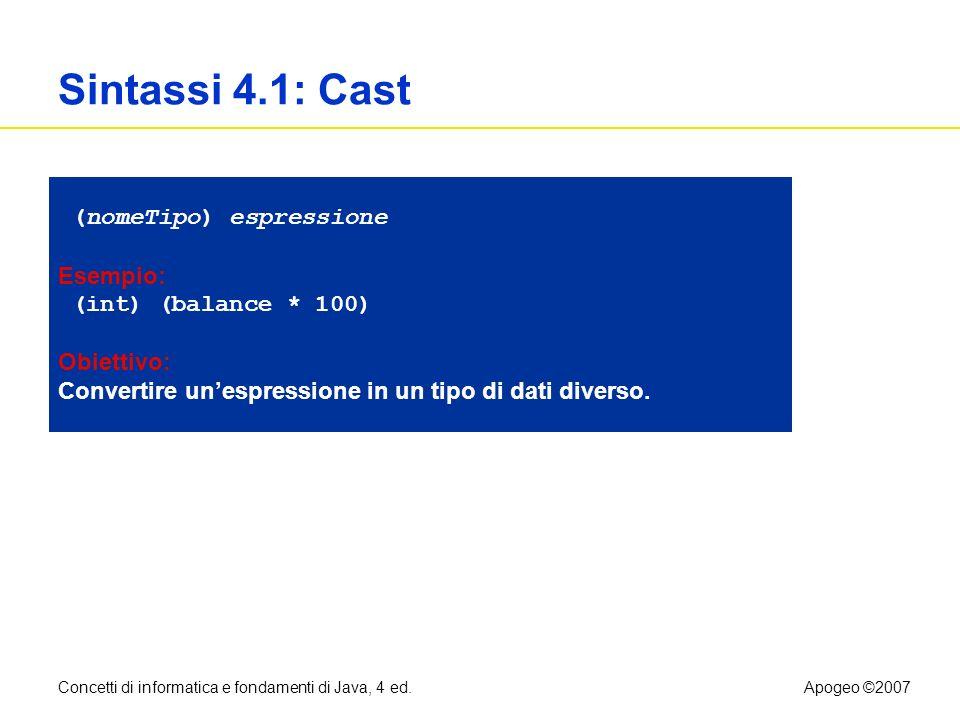 Concetti di informatica e fondamenti di Java, 4 ed.Apogeo ©2007 Sintassi 4.1: Cast (nomeTipo) espressione Esempio: (int) (balance * 100) Obiettivo: Co
