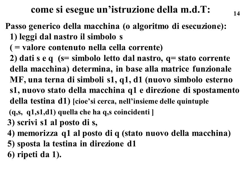 14 come si esegue unistruzione della m.d.T: Passo generico della macchina (o algoritmo di esecuzione): 1) leggi dal nastro il simbolo s ( = valore con