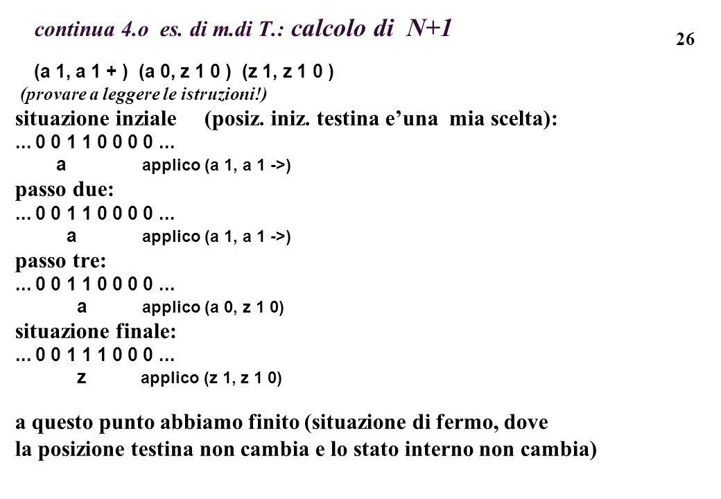 26 continua 4.o es. di m.di T.: calcolo di N+1 (a 1, a 1 + ) (a 0, z 1 0 ) (z 1, z 1 0 ) (provare a leggere le istruzioni!) situazione inziale (posiz.