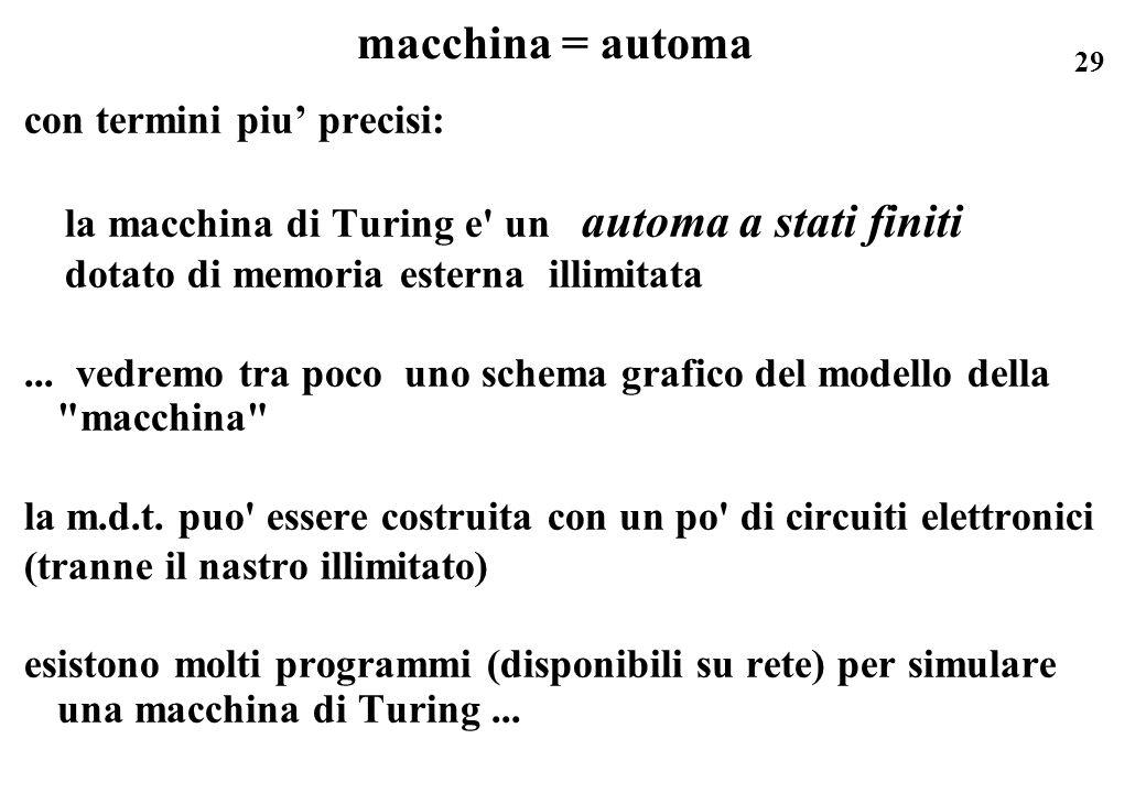 29 macchina = automa con termini piu precisi: la macchina di Turing e' un automa a stati finiti dotato di memoria esterna illimitata... vedremo tra po