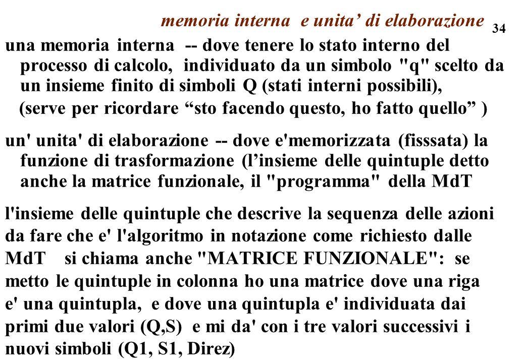 34 memoria interna e unita di elaborazione una memoria interna -- dove tenere lo stato interno del processo di calcolo, individuato da un simbolo