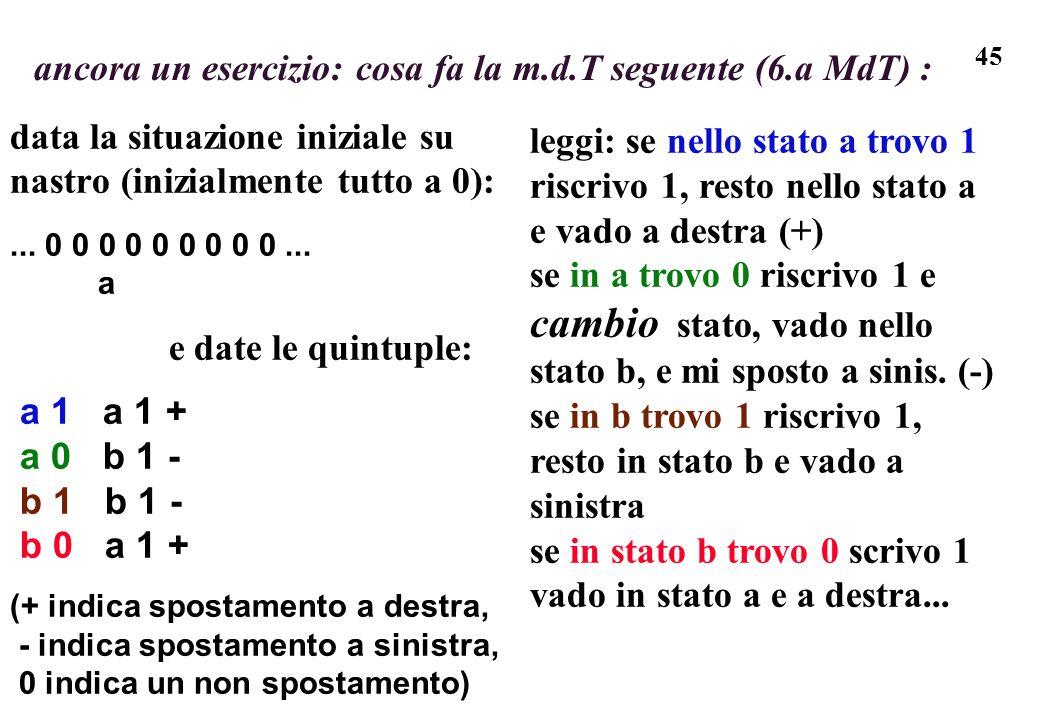 45 ancora un esercizio: cosa fa la m.d.T seguente (6.a MdT) : data la situazione iniziale su nastro (inizialmente tutto a 0):... 0 0 0 0 0 0 0 0 0...