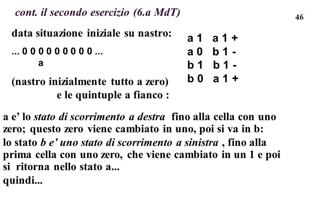 46 data situazione iniziale su nastro:... 0 0 0 0 0 0 0 0 0... a (nastro inizialmente tutto a zero) e le quintuple a fianco : cont. il secondo eserciz
