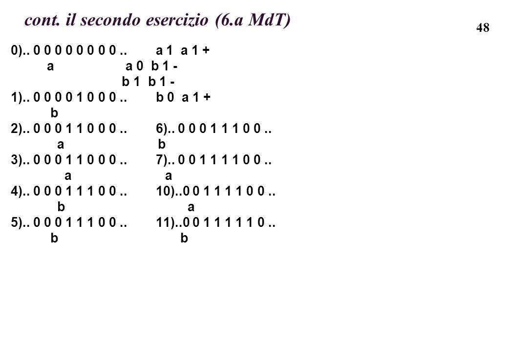 48 cont. il secondo esercizio (6.a MdT) 0).. 0 0 0 0 0 0 0 0.. a 1 a 1 + a a 0 b 1 - b 1 b 1 - 1).. 0 0 0 0 1 0 0 0.. b 0 a 1 + b 2).. 0 0 0 1 1 0 0 0