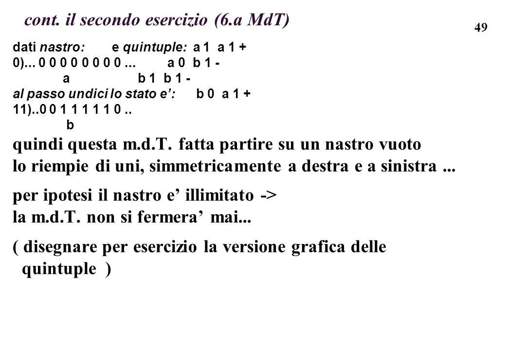 49 cont. il secondo esercizio (6.a MdT) dati nastro: e quintuple: a 1 a 1 + 0)... 0 0 0 0 0 0 0 0... a 0 b 1 - a b 1 b 1 - al passo undici lo stato e: